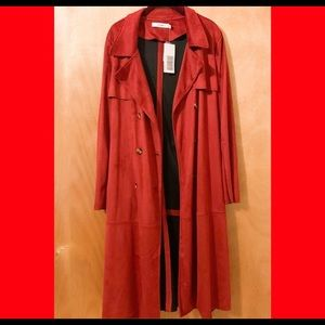 NWT JustFab   Faux Suede Fall Trench Coat Jacket